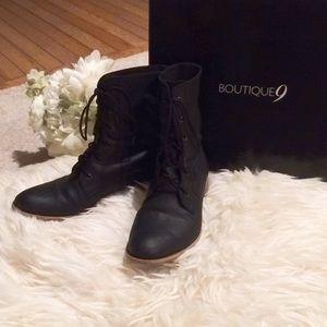 Boutique 9 Leather Lace up Boots Black 7.5 M